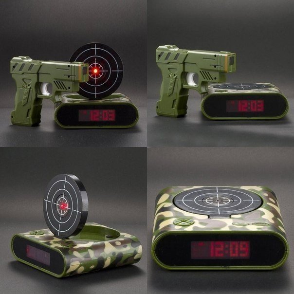 Необычный будильник с пистолетом